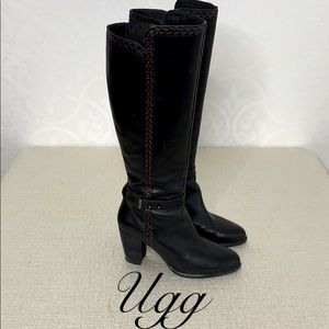UGG TALL LEATHER HEELED BOOTS SIZE 8